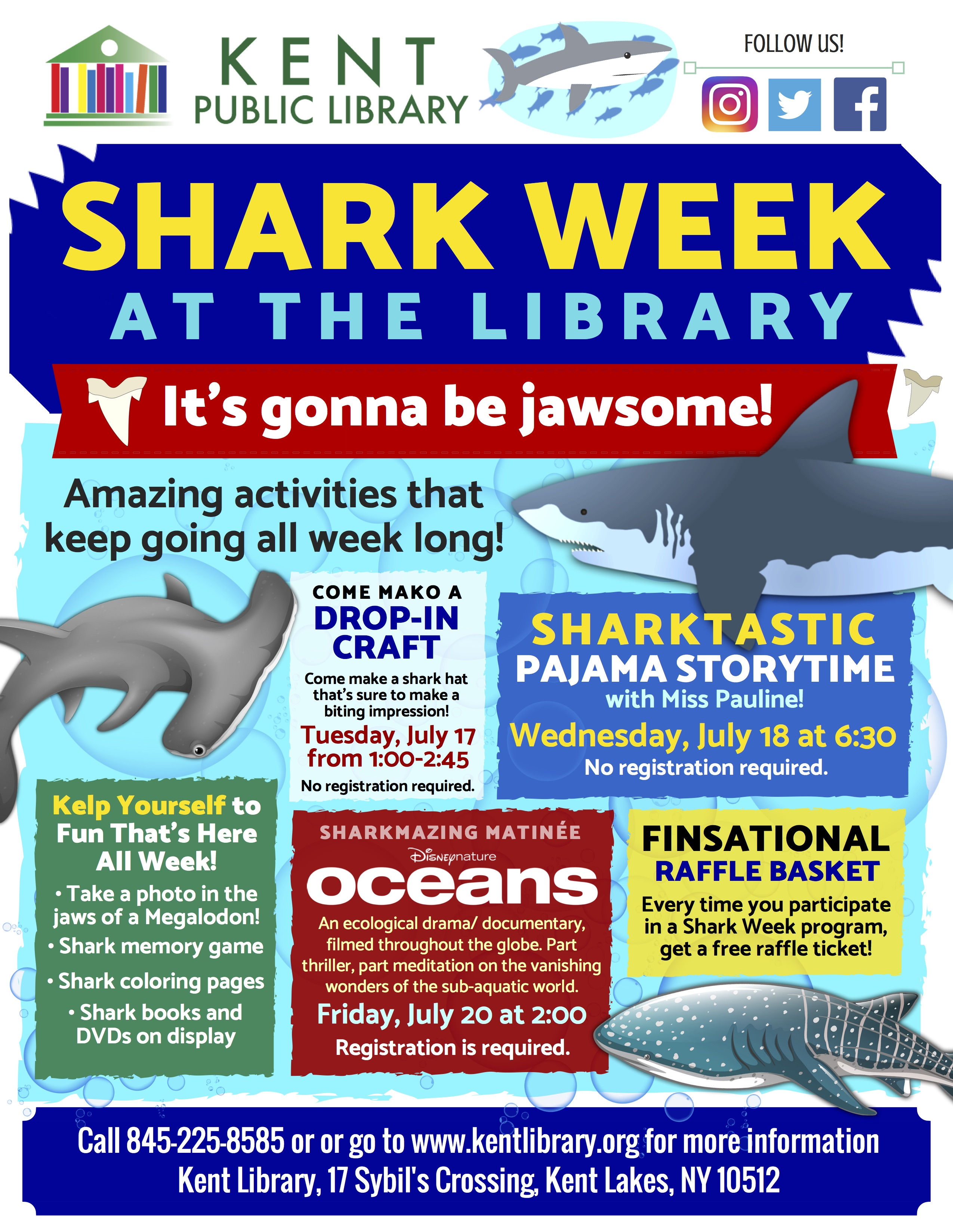 SHARK WEEK AT KENT LIBRARY: Story time, craft, movie, raffle