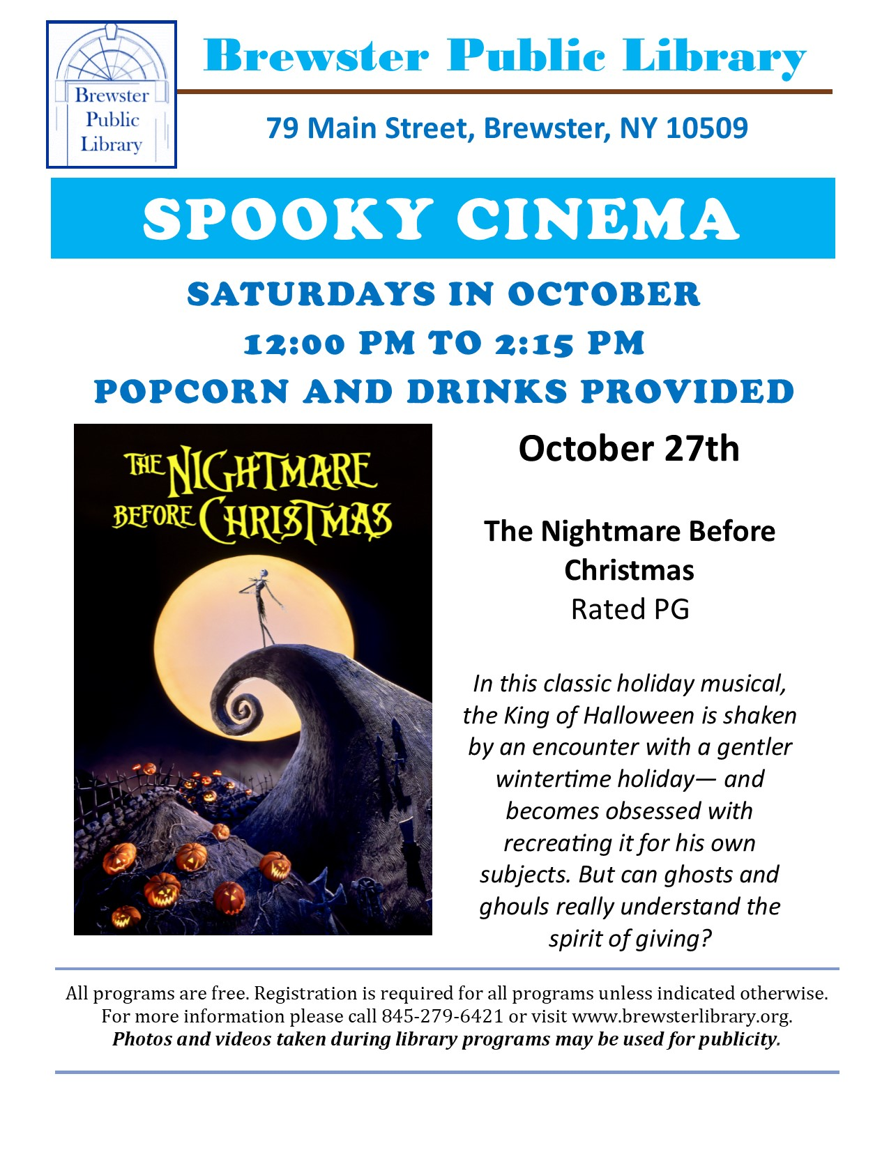 The Nightmare Before Christmas at Brewster Public Library October 27