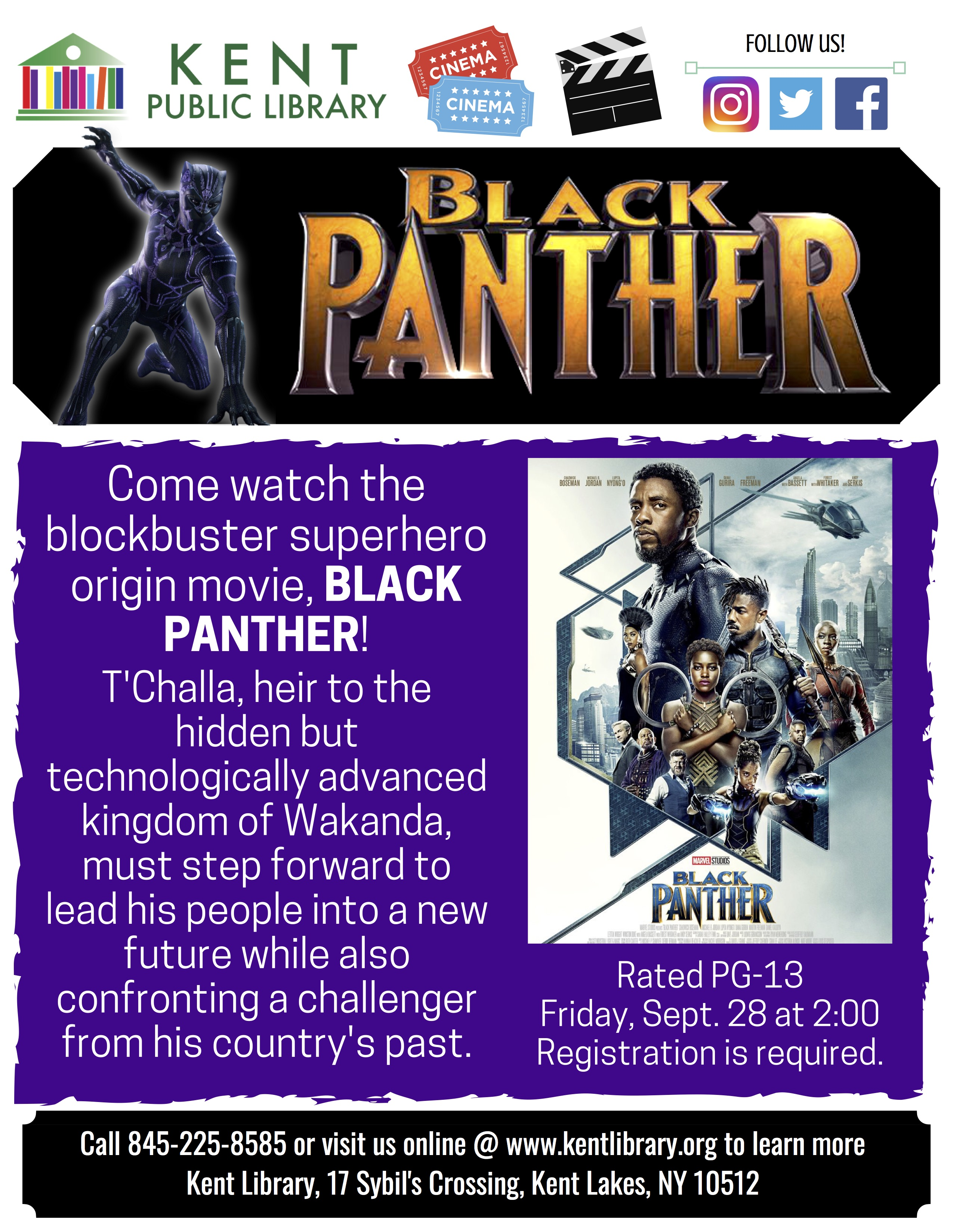 MOVIE MATINEE: BLACK PANTHER AT KENT LIBRARY
