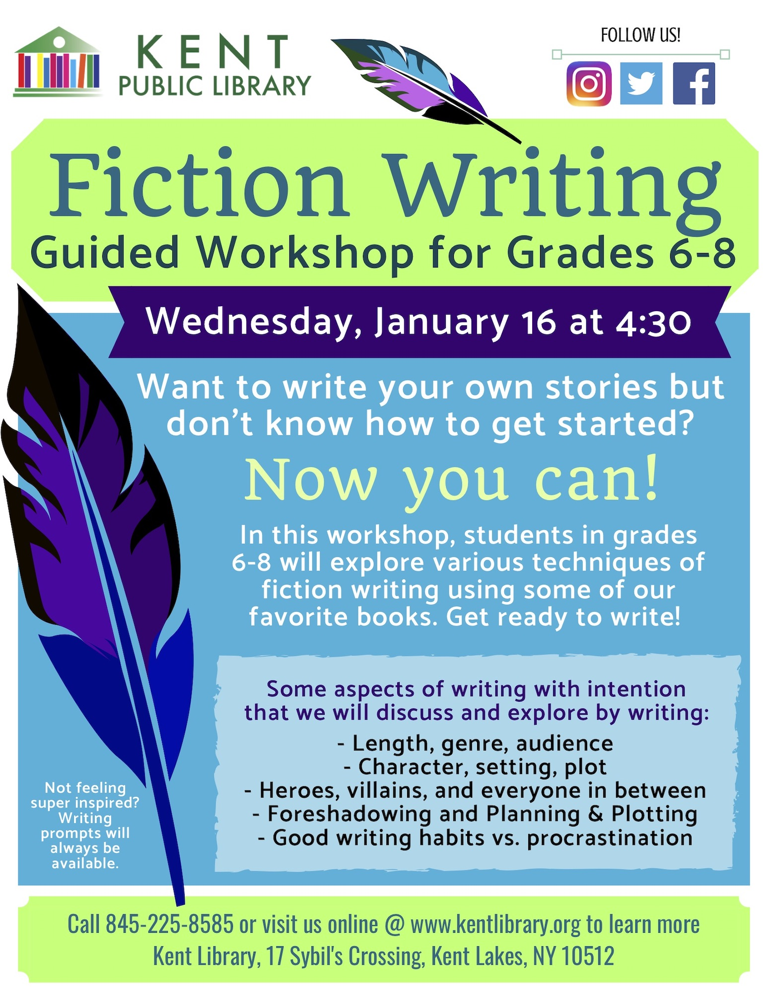 Middle School Fiction Writing Workshop at the Kent Library