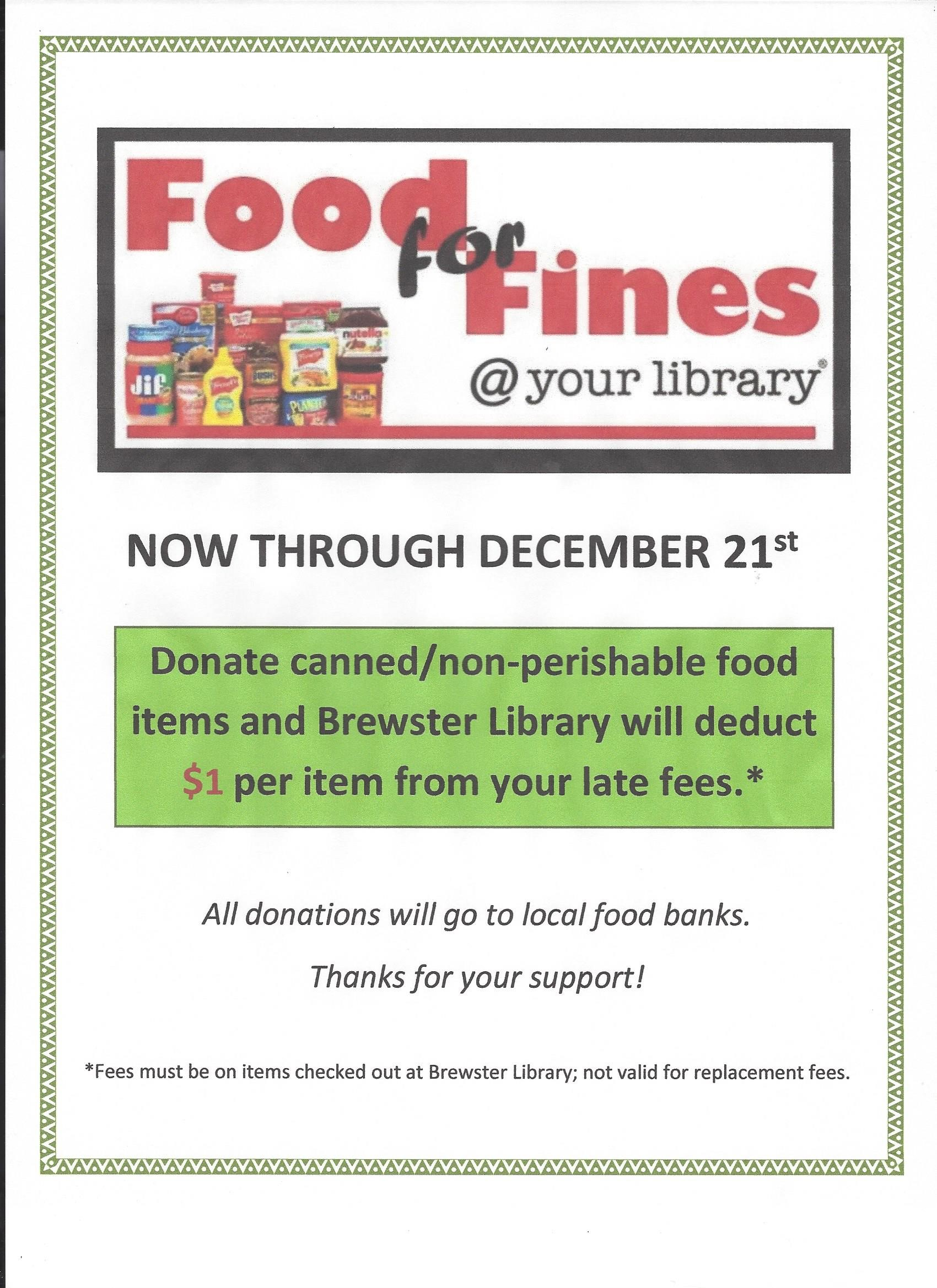 884adbef8cc Dec 21 is the Last Day to Donate Food for Fines at Brewster Library