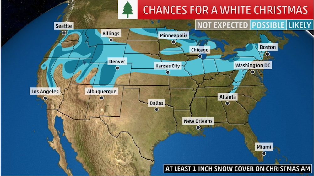 White Christmas Forecast.White Christmas 2018 Forecast What Are Your Chances Of