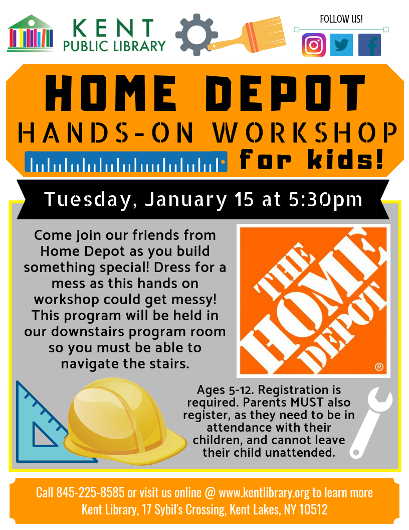 Home Depot Hands On Workshop For Kids At The Kent Library