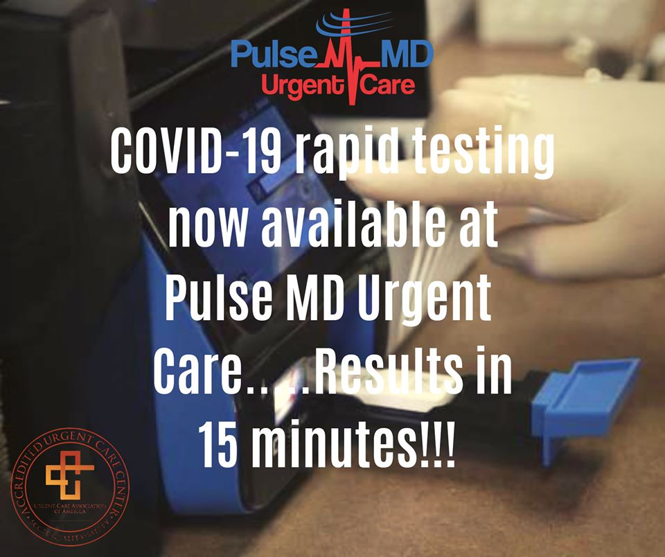 Pulse Md Urgent Care Now Offering Rapid Covid Test Results