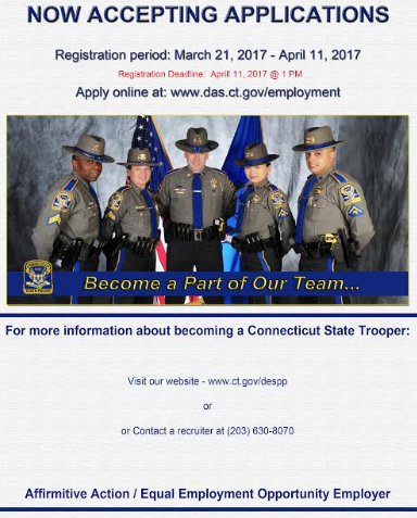 Connecticut State Police Announce State Police Trooper Trainee