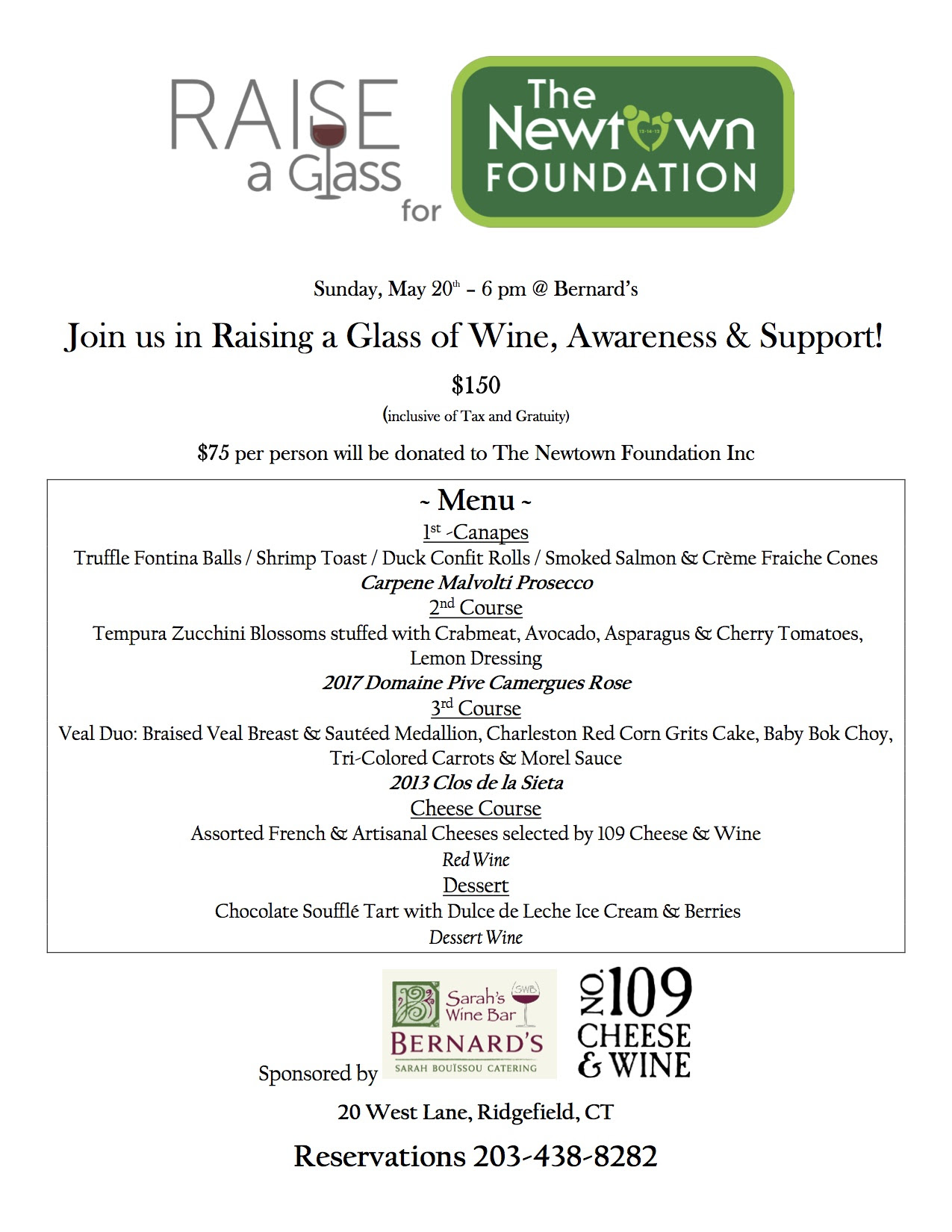 Support the Newtown Foundation on May 20 at Bernard's, a few