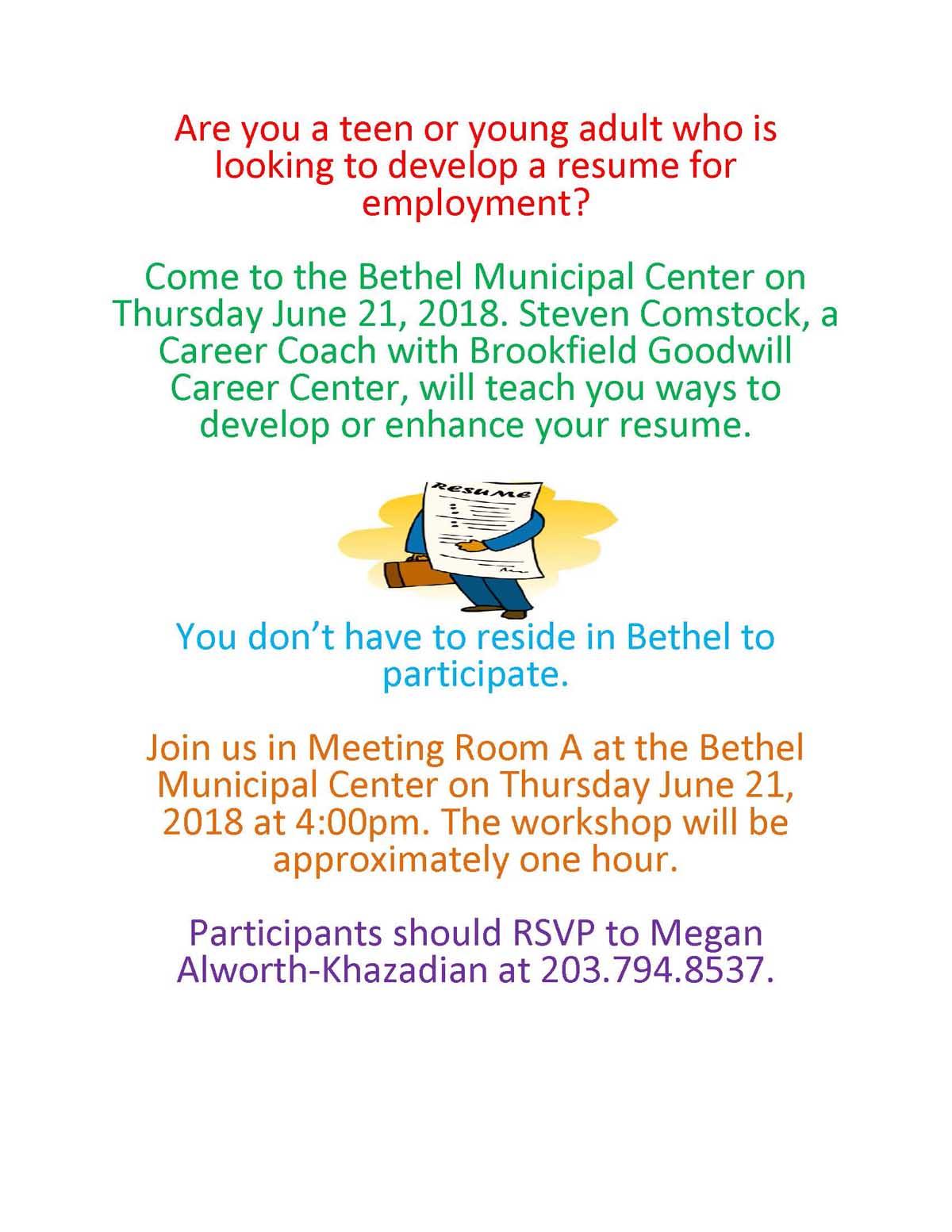 Resume Workshop In Bethel On June 21