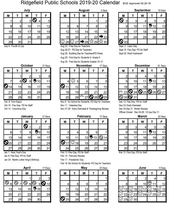 2020-2021 Nyc School Calendar Ridgefield Public Schools Calendars for 2019 20 and 2020 21 School