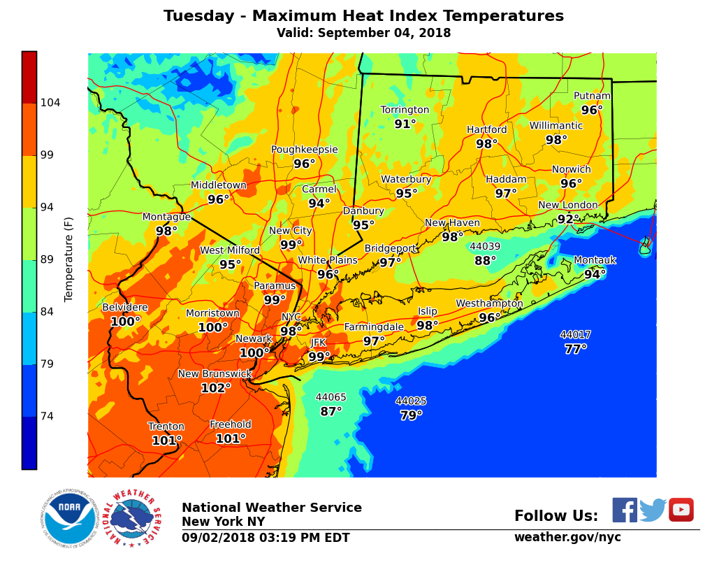 Heat Advisory in Connecticut Monday and Tuesday