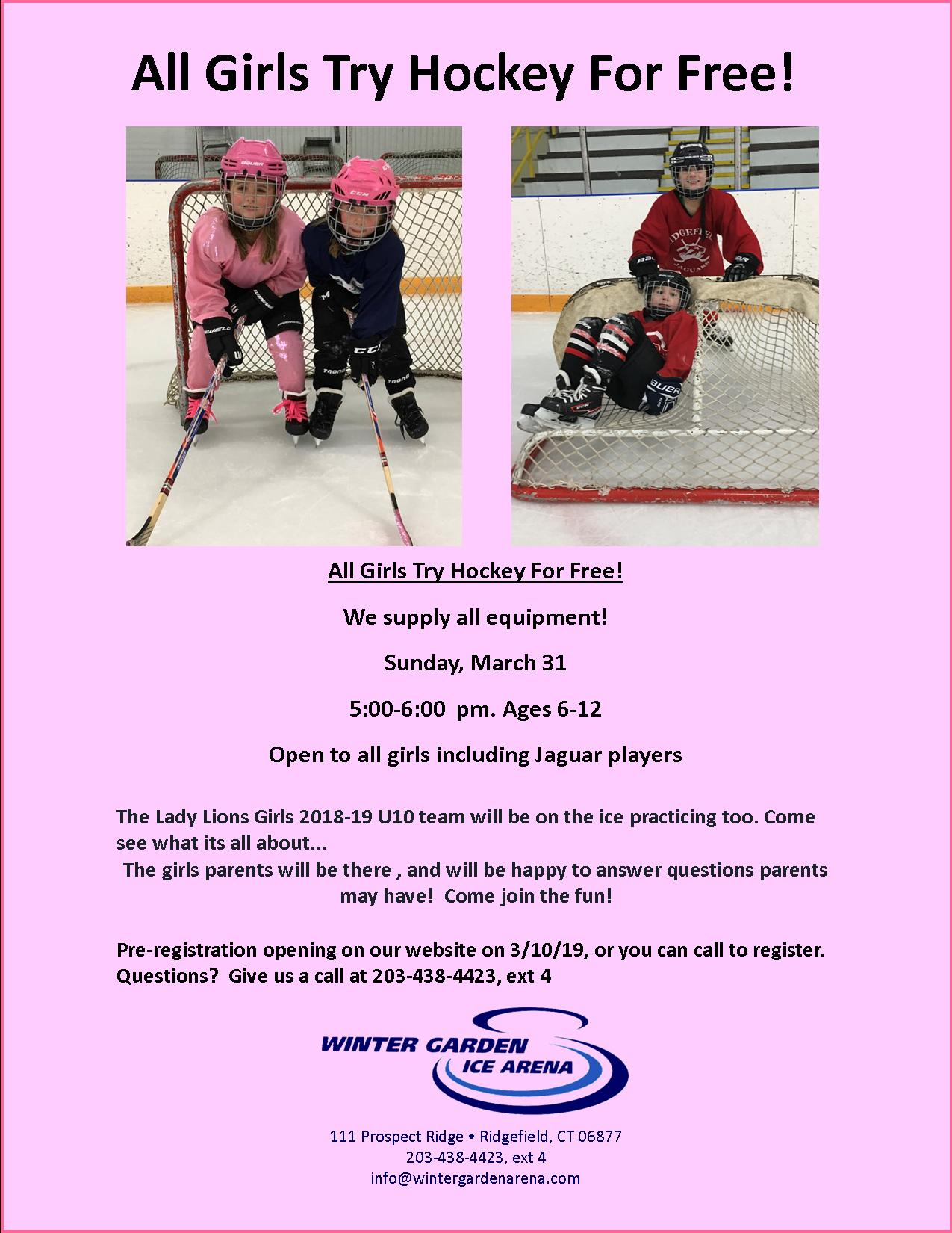 Girls Ages 6 To 12 Try Hockey For Free At Winter Garden Ice