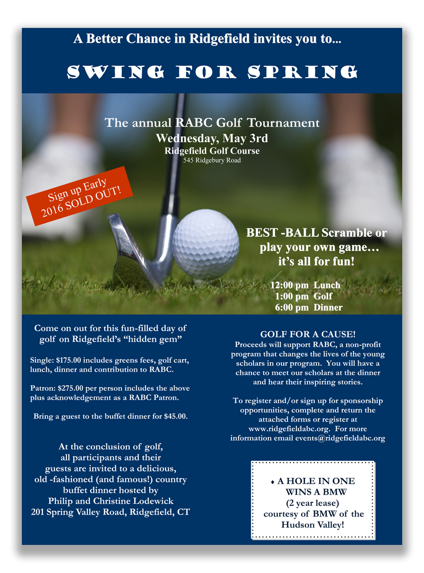 the annual a better chance in ridgefield rabc golf outing is set for wednesday may 3 at the ridgefield golf course beginning at 12 noon
