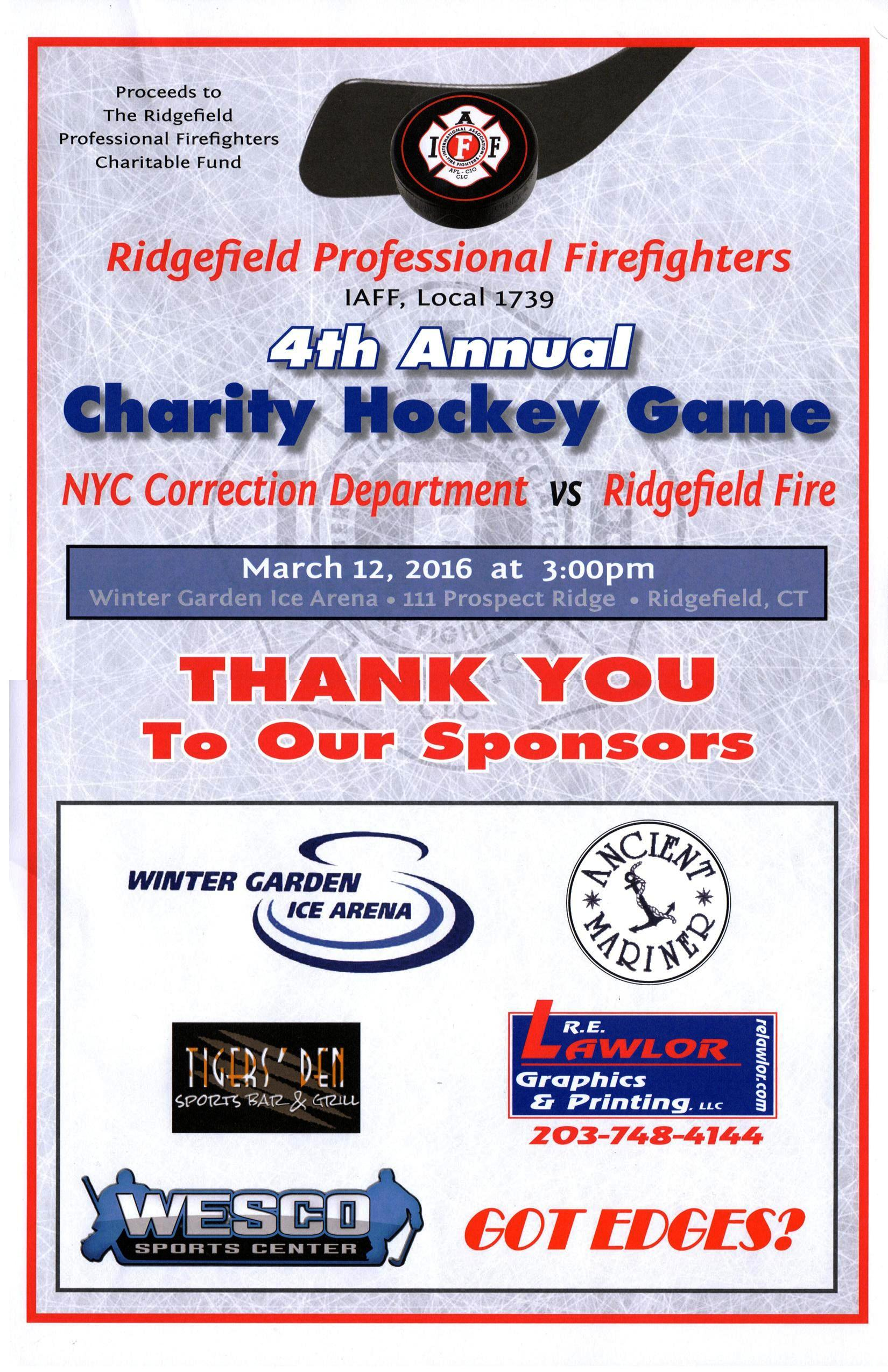 cheer on ridgefield professional firefighters in a charity hockey