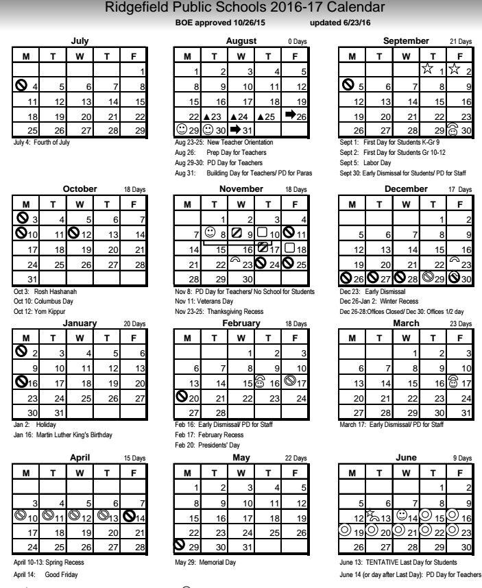 Ridgefield Public School Releases 2016-17 School Calendar
