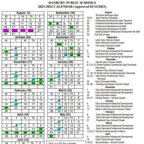 Wcsu Academic Calendar 2022.Danbury Public Schools 2021 2022 Calendar