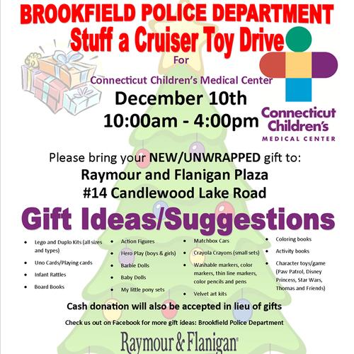 Brookfield Police Department Stuff A Cruiser Event Benefits
