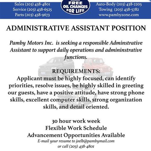 Pamby Motors Is Hiring An Administrative Assistant