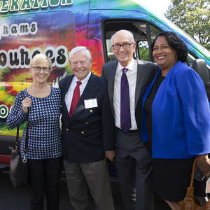 Celebrating the grand opening of the Pelletier Wellness Center on September 19, 2019 were Sally and John Bassler (Liberation Programs' board member), Bill Mitchell, and Community Liaison for the City of Bridgeport, Carolyn Vermont