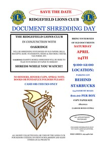 Safely shred your sensitive documents from 9-12 on April 24th in parking lot behind Starbucks