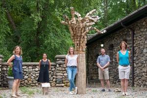 From left to right: Elaine Lloyd, Official Photographer of the New Canaan Sculpture Trail; Nancy Bemis, New Canaan Land Trust Board Member and Co-Chair of New Canaan Sculpture Trail;  Hilary Wittmann, Executive Director of the Carriage Barn Arts Center; Aaron Lefland, Executive Director of the New Canaan Land Trust.