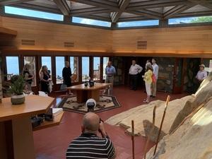 Author Joe Massaro addresses group on tour of his Frank Lloyd Wright masterpiece