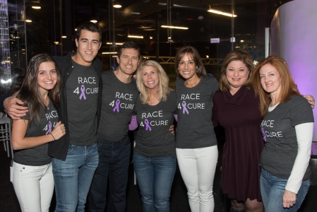 Kerri Kaplan Executive Director & Chief Operating Officer of The Lustgarten Foundation (center) joins committee family Devon, Garrett, Gavin and Hope Wolfe (Bedford, NY), event emcee Lisa La Rocca News 12 Westchester, and committee member Pam Bieber (Edgemont, NY).
