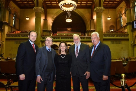 Left to right: Carmelo Milio, President, BRI; Albert Annunziata;  Amy Paulin, NYS Assemblywoman, Scarsdale; Kenneth J. Finger, Chief Counsel, BRI; and  Glenn Riddell, The Riddell Group, Albany.