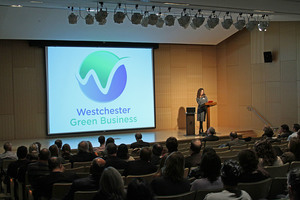 Westchester Green Business Director, Dani Glaser discussing the new logo for Westchester Green Business.​