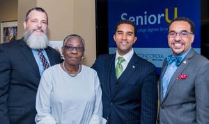 Photo (L to R) Dr. David J. Gentner, Wartburg President & CEO, Ms. Joan Parks, Wartburg resident, Mount Vernon Mayor Richard Thomas and Rev. Dr. John A. Nunes, Concordia College President.