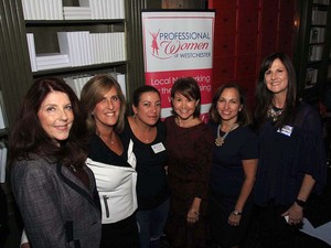 Left to right: Lisa Kaslyn, Prosper Communications; Stacey Tompkins, Tompkins Excavating; Jamie Imperiati, Professional Woman of Westchester; Millie Becker, Skyqueen Enterprises; Shirley Acevedo Buontempo, Latino U College Access; Kara Mac (Schwartz), ShoeCandy by Kara Mac.
