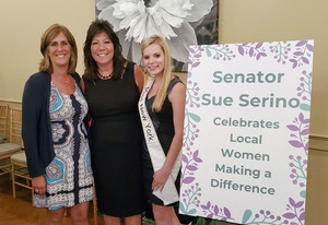 Stacey Tompkins (left) with Senator Sue Serino (center) and 2019 Miss New York Lauren Mollela (right) at the Connecting Woman in Our Community Event.