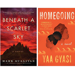 Book covers for Beneath a Scarlet Sky and Homegoing