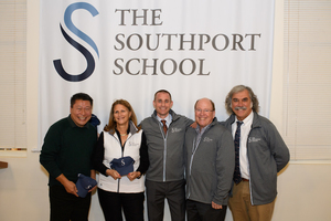 Photo (Left to Right) -- CT Senator Tony Hwang, TSS Board of Directors Chair Virginia Cargill (of Southport), TSS Headmaster Dr. Benjamin N. Powers (of Madison), TSS Director Emeriti Dick Ferguson (of Westport), and TSS School Psychologist Dave Sylvestro (of Easton)