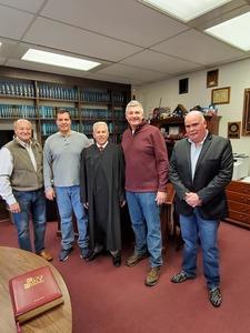 (R to L) Council member Robert Schanil, Supervisor Schmitt, Town Justice Daniel Miller, Council member Frank Lombardi, Mike Simone Carmel Town Highway Superintendent