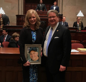 "Angela Robertson (mother of Stephen Canastraro Jr., whom ""Stephen's Law"" is named for) with Sen. Harckham today at the New York State Senate."
