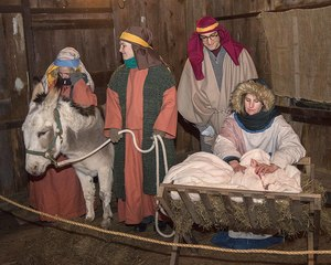 """The First Church of Christ Congregational (Redding Center) will host its' annual Live Nativity Pageant on Saturday, December 16th at 5 PM.  Join in the singing of carols and follow the journey of Joseph and Mary as they travel with their donkey, to the manger in Bethlehem.  Along the way, observe shepherds tending to their flock by night, hear a chorus of angels, be dazzled by the """"star in the east"""", and see wise men in route to worship the New Born King.  The journey culminates with a live tableau of the Nativity Scene.  Warm refreshments will be served immediately after. During the hot chocolate & cookie reception the Lotti Fields (who lived in Redding) collector pottery, as well as Olive Oil from Bethlehem will be available for holiday purchases.  Please check the church web site (firstchurchredding.org) for any weather related cancellation.  Makeup date would be Sunday the 17th."""