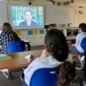 Congressman Jim Himes joined New Canaan Country School 8th grade World Cultures students to discuss US Response to Myanmar conflict.