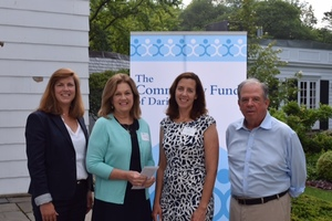 (from left to right) Carrie Bernier, Executive Director of The Community Fund of Darien, Linda Autore, President & CEO of Laurel House, Inc., Lisa Haas, Grants Director of The Community Fund of Darien and Steve Ward, President of the Board of The Community Fund of Darien at the 2017 Grant Awards Open House held at the Darien Community Association.