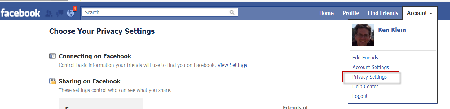 Facebook Account Privacy Settings Menu Option
