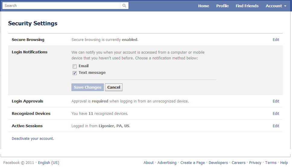 Facebook email notification settings