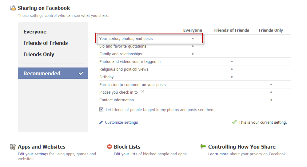 Facebook default security settings image