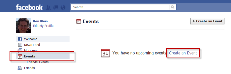Facebook event screen