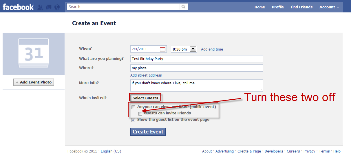 Facebook Create an event screen