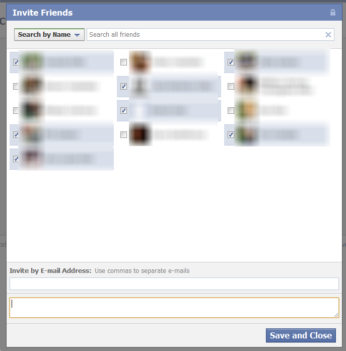 Facebook Invite Friends screen