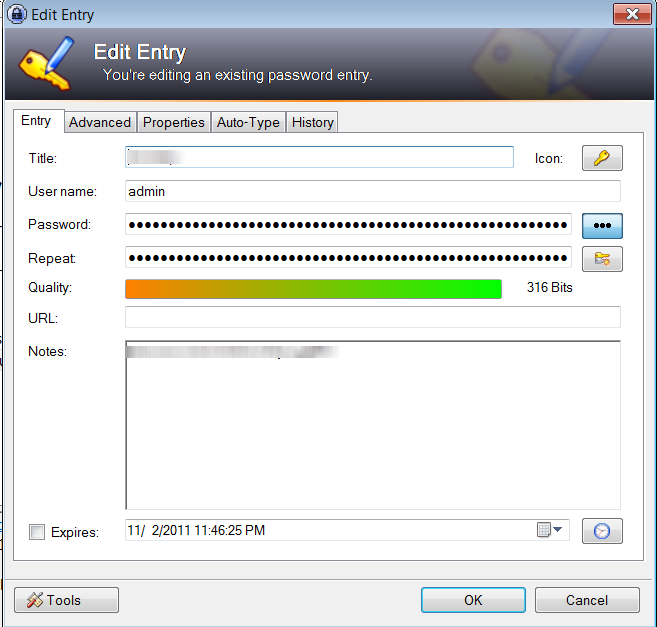 Keepass Entry Screen