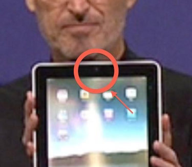 Jobs holding an iPad