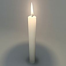 Candle with animated flame  3D Model