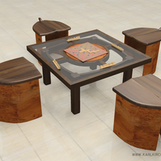 Game Table,Seating,Scrabble Board 3D Model
