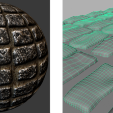 Realistic cobblestone texture with normal, spec, AO maps using CrazyBump