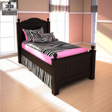 Ashley Jaidyn Twin Poster Bed 3D Model