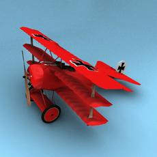 Fokker DR.1 Triplane Red Baron 3D Model